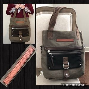 Fossil Canvas Handbag with Suede Leather Detail
